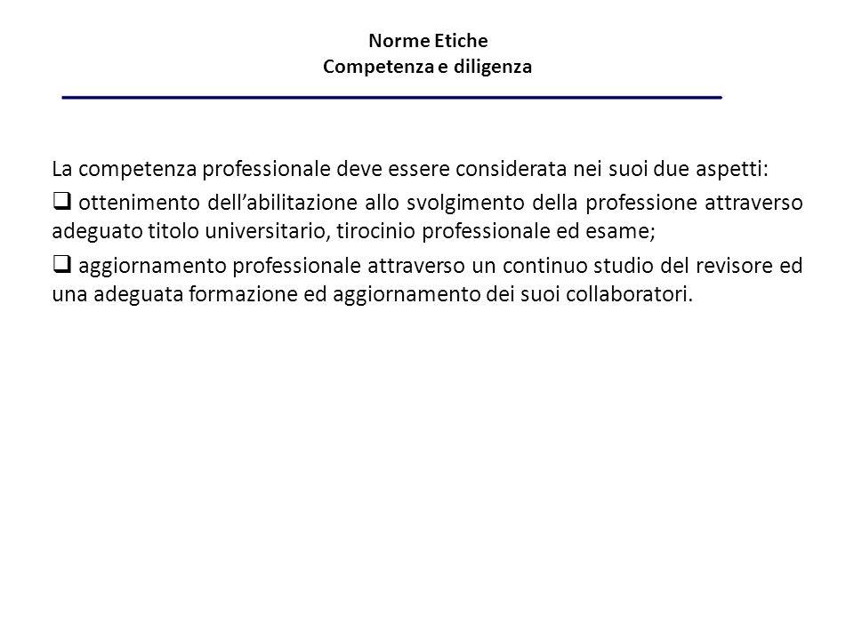 Norme Etiche Competenza e diligenza