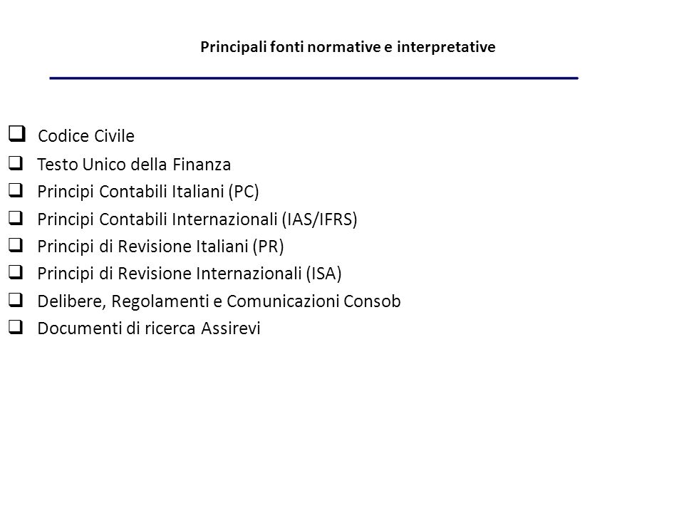 Principali fonti normative e interpretative