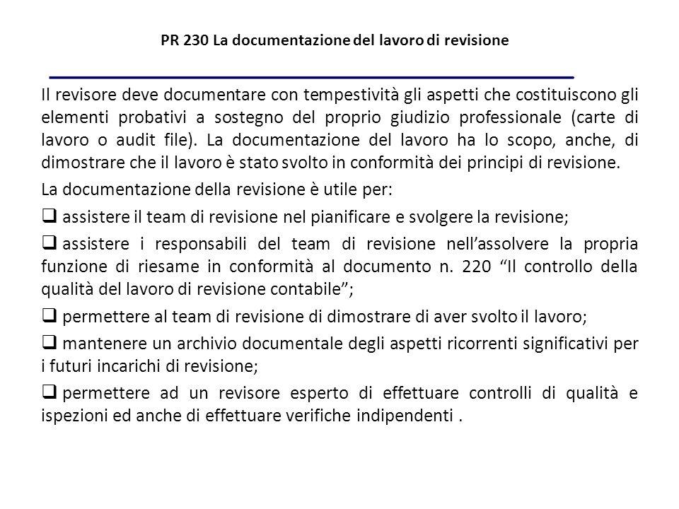 PR 230 La documentazione del lavoro di revisione