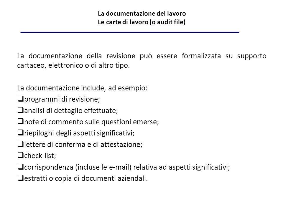 La documentazione del lavoro Le carte di lavoro (o audit file)