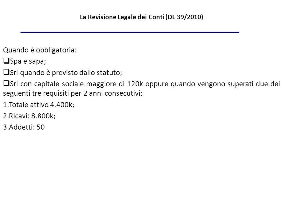 La Revisione Legale dei Conti (DL 39/2010)