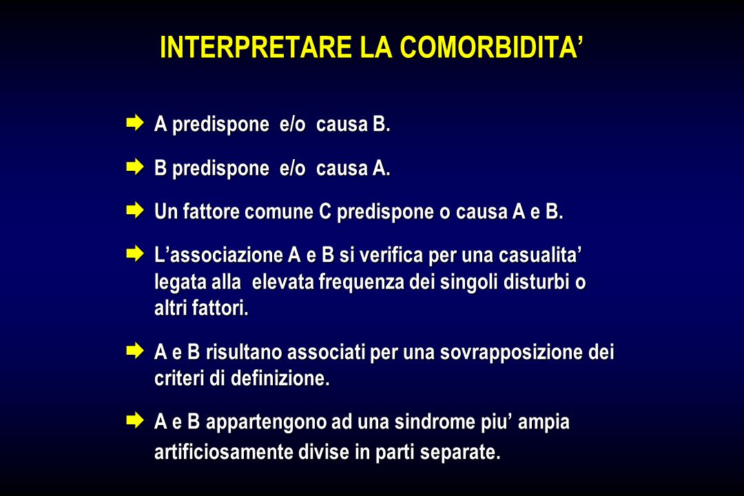 INTERPRETARE LA COMORBIDITA'