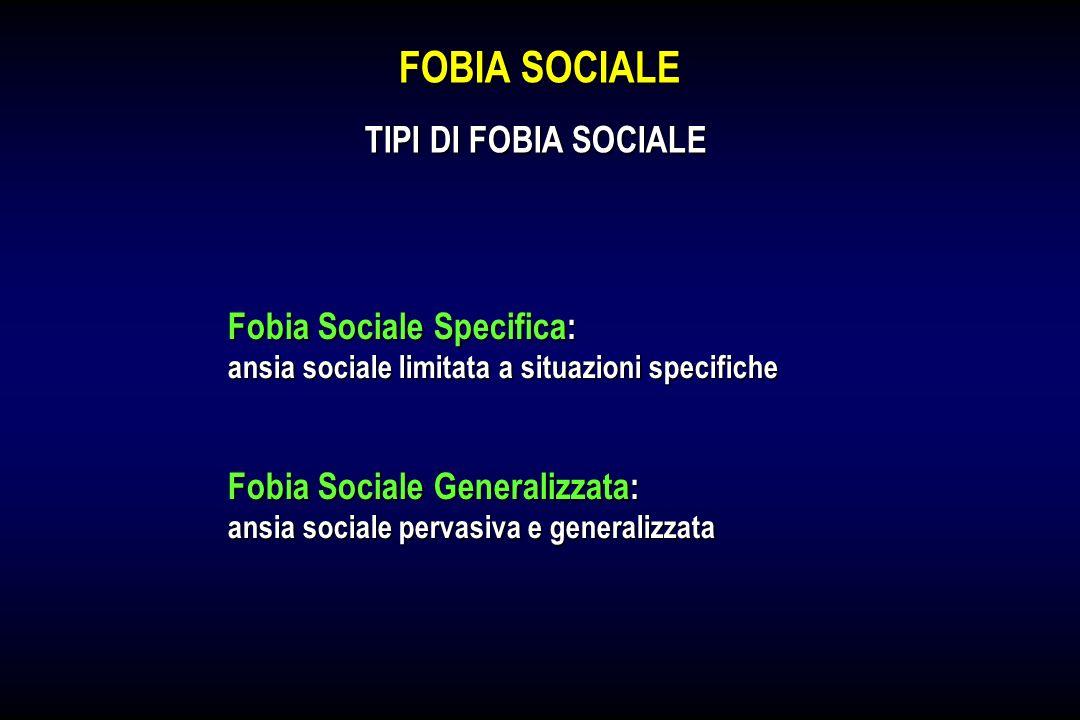 FOBIA SOCIALE TIPI DI FOBIA SOCIALE Fobia Sociale Specifica: