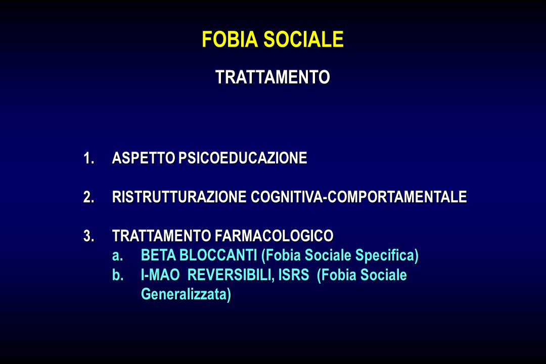FOBIA SOCIALE TRATTAMENTO ASPETTO PSICOEDUCAZIONE