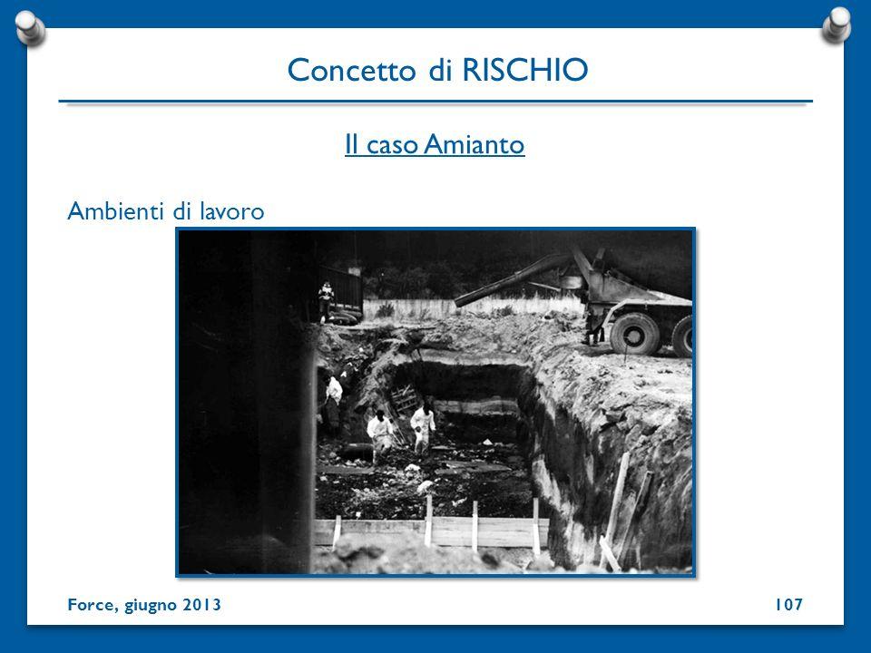 Concetto di RISCHIO Il caso Amianto Ambienti di lavoro