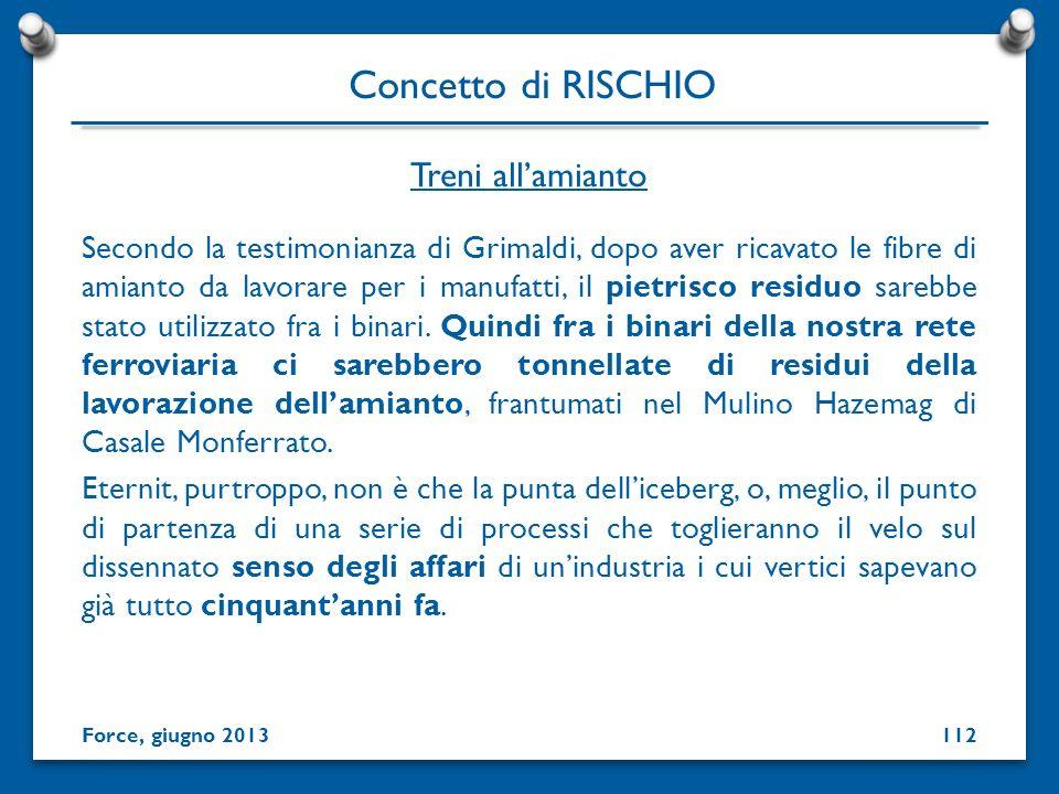 Concetto di RISCHIO Treni all'amianto