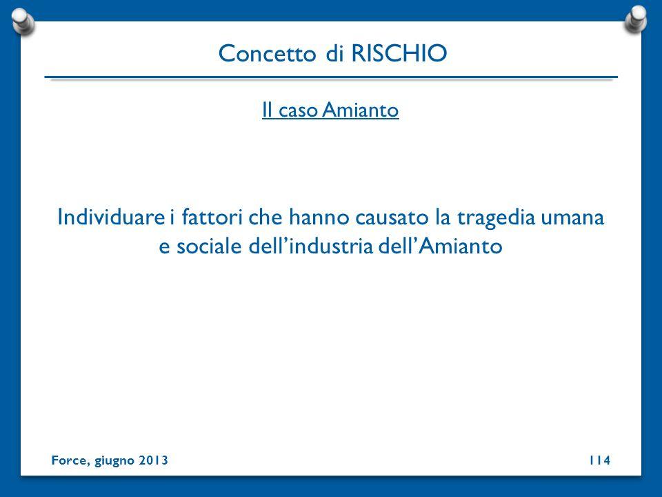 Concetto di RISCHIO Il caso Amianto. Individuare i fattori che hanno causato la tragedia umana e sociale dell'industria dell'Amianto.