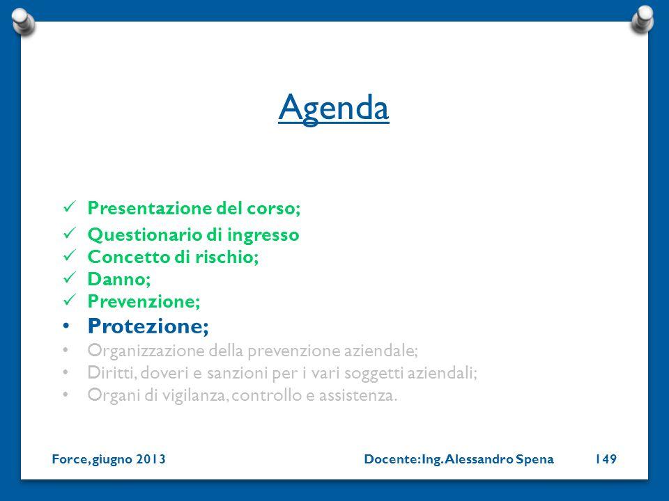 Agenda Protezione; Presentazione del corso; Questionario di ingresso
