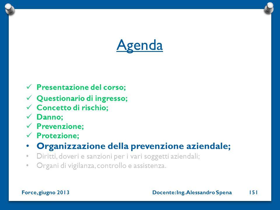 Agenda Organizzazione della prevenzione aziendale;