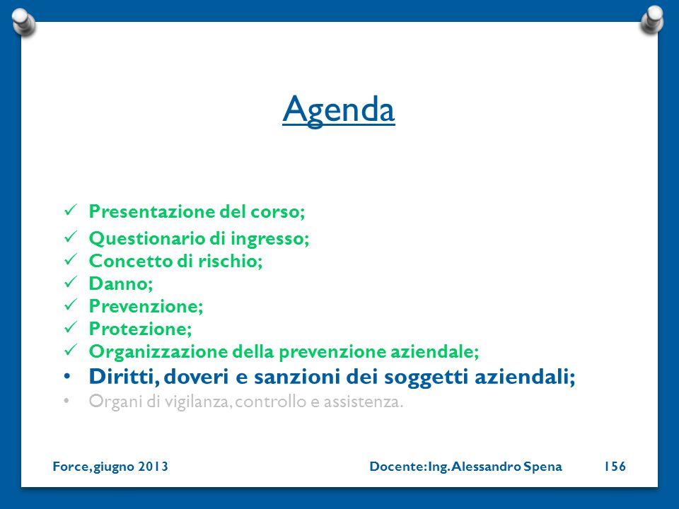Agenda Diritti, doveri e sanzioni dei soggetti aziendali;