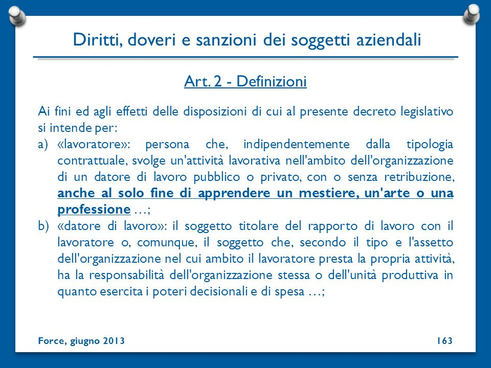Diritti, doveri e sanzioni dei soggetti aziendali
