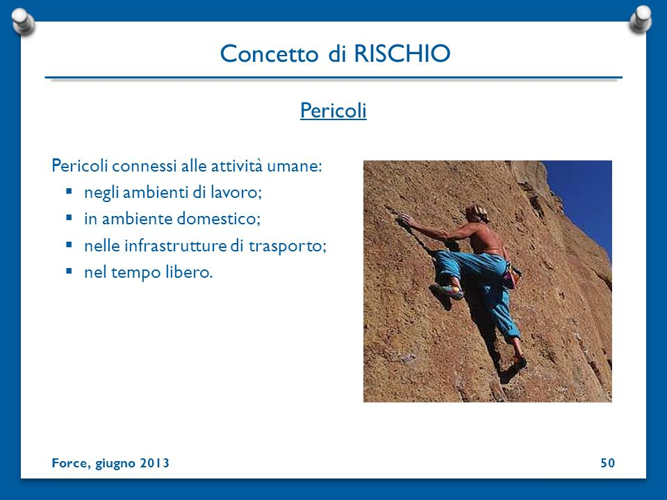 Concetto di RISCHIO Pericoli Pericoli connessi alle attività umane: