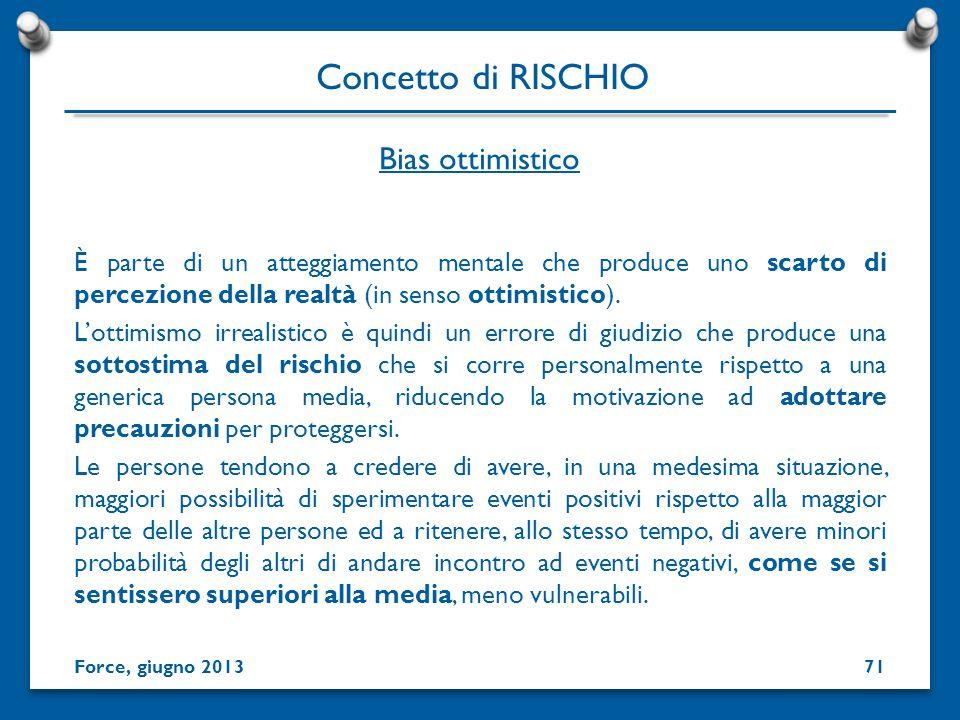 Concetto di RISCHIO Bias ottimistico