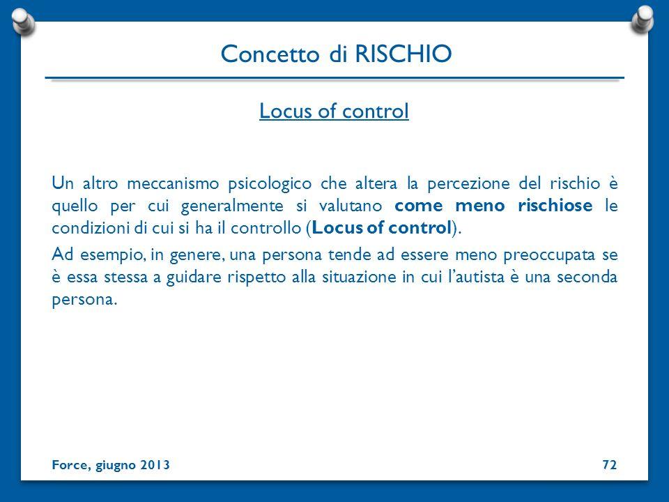 Concetto di RISCHIO Locus of control