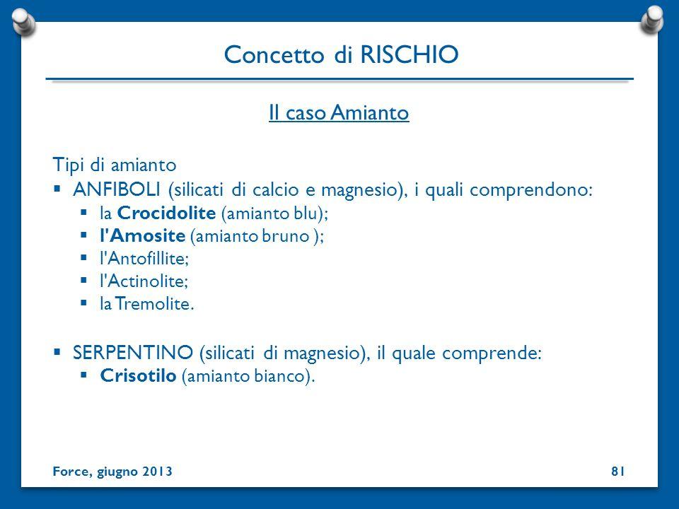 Concetto di RISCHIO Il caso Amianto Tipi di amianto