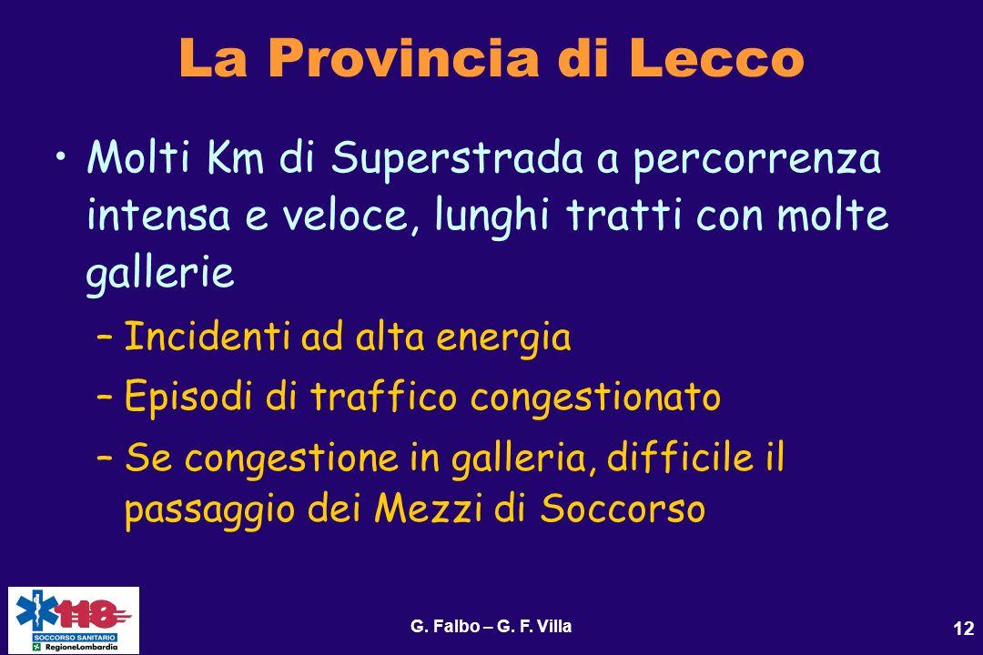 La Provincia di Lecco Molti Km di Superstrada a percorrenza intensa e veloce, lunghi tratti con molte gallerie.
