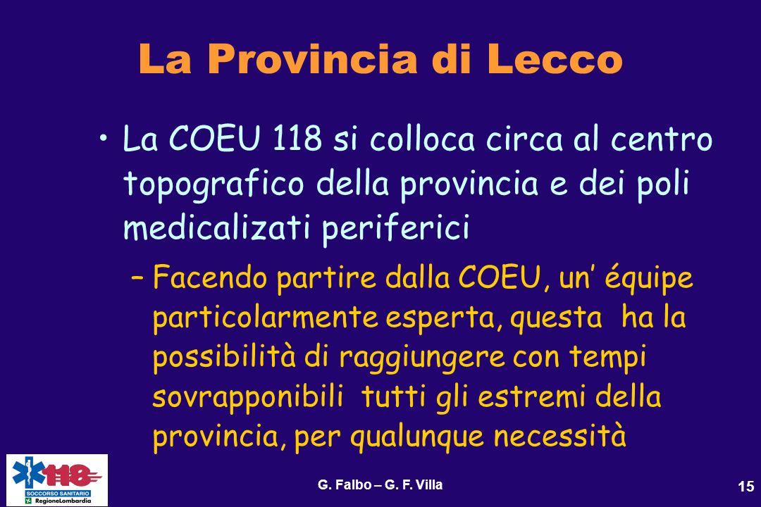 La Provincia di Lecco La COEU 118 si colloca circa al centro topografico della provincia e dei poli medicalizati periferici.