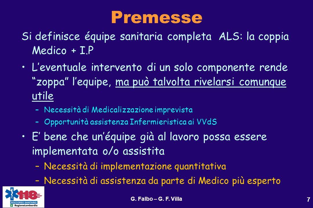 Premesse Si definisce équipe sanitaria completa ALS: la coppia Medico + I.P.