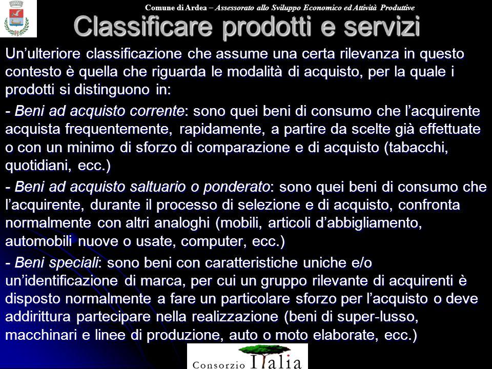 Classificare prodotti e servizi