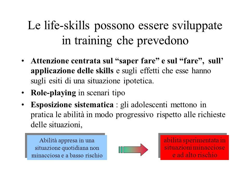 Le life-skills possono essere sviluppate in training che prevedono