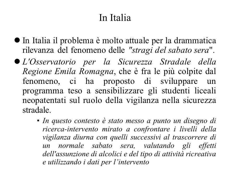 In Italia In Italia il problema è molto attuale per la drammatica rilevanza del fenomeno delle stragi del sabato sera .