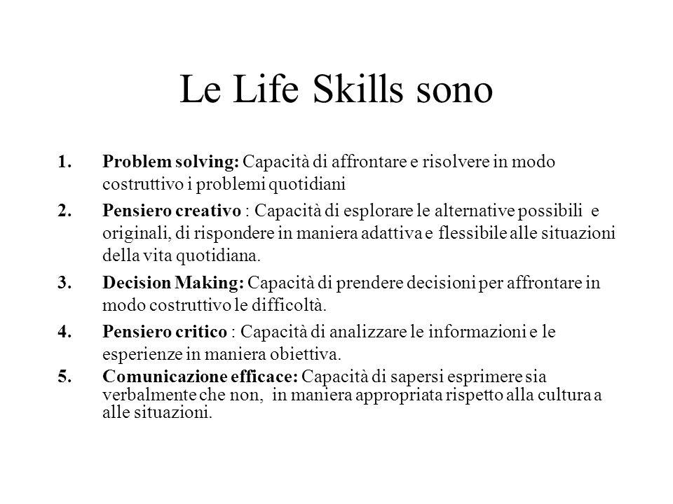 Le Life Skills sono Problem solving: Capacità di affrontare e risolvere in modo costruttivo i problemi quotidiani.