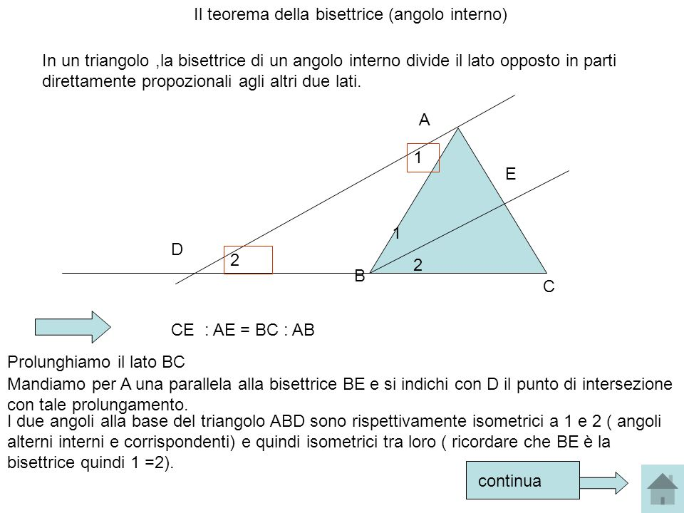 Il teorema della bisettrice (angolo interno)