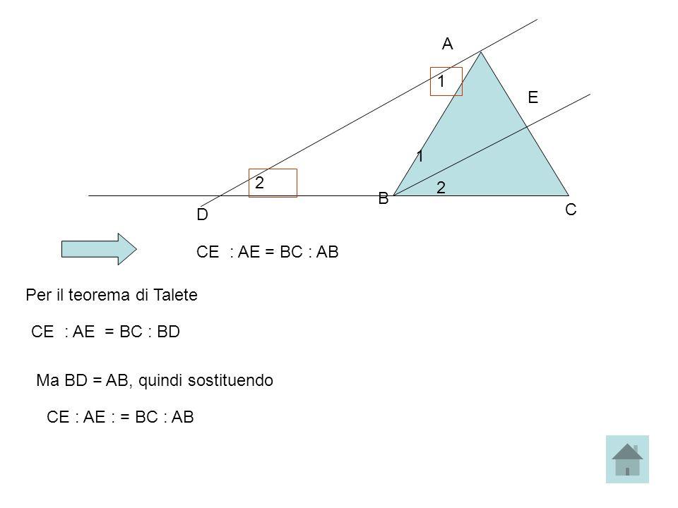 A 1. E. 1. 2. 2. B. C. D. CE : AE = BC : AB. Per il teorema di Talete. CE : AE = BC : BD.