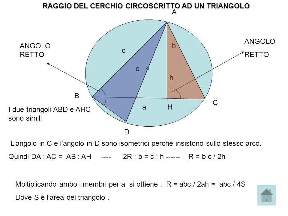 RAGGIO DEL CERCHIO CIRCOSCRITTO AD UN TRIANGOLO