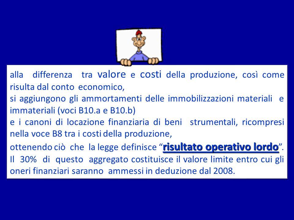 alla differenza tra valore e costi della produzione, così come risulta dal conto economico,