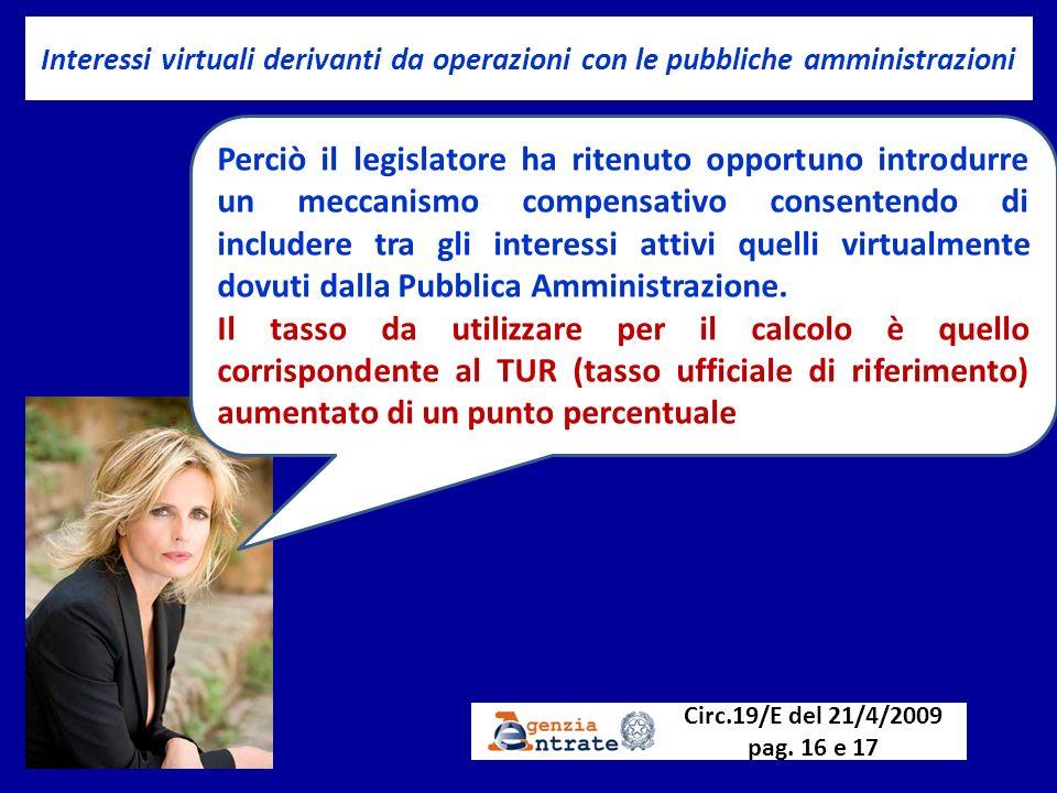 Interessi virtuali derivanti da operazioni con le pubbliche amministrazioni