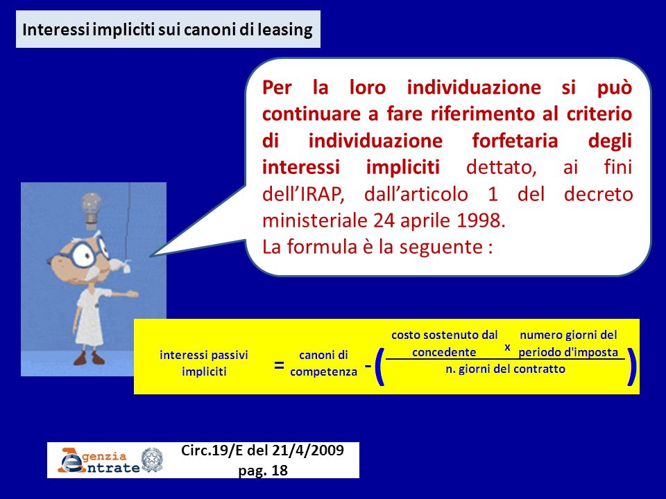Interessi impliciti sui canoni di leasing