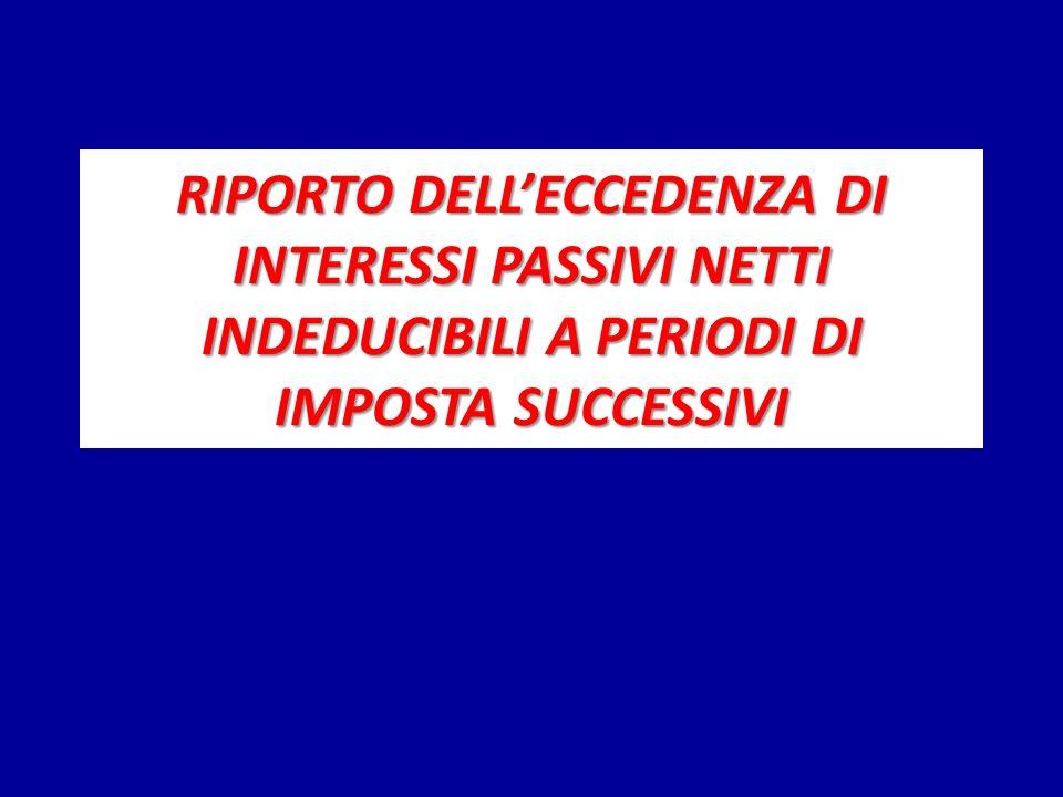 RIPORTO DELL'ECCEDENZA DI INTERESSI PASSIVI NETTI INDEDUCIBILI A PERIODI DI IMPOSTA SUCCESSIVI