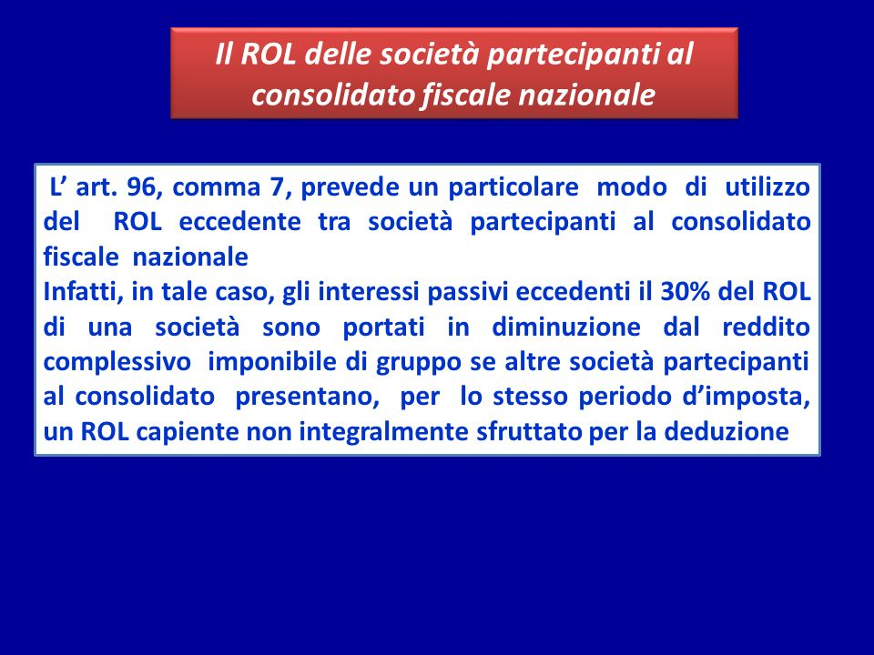 Il ROL delle società partecipanti al consolidato fiscale nazionale