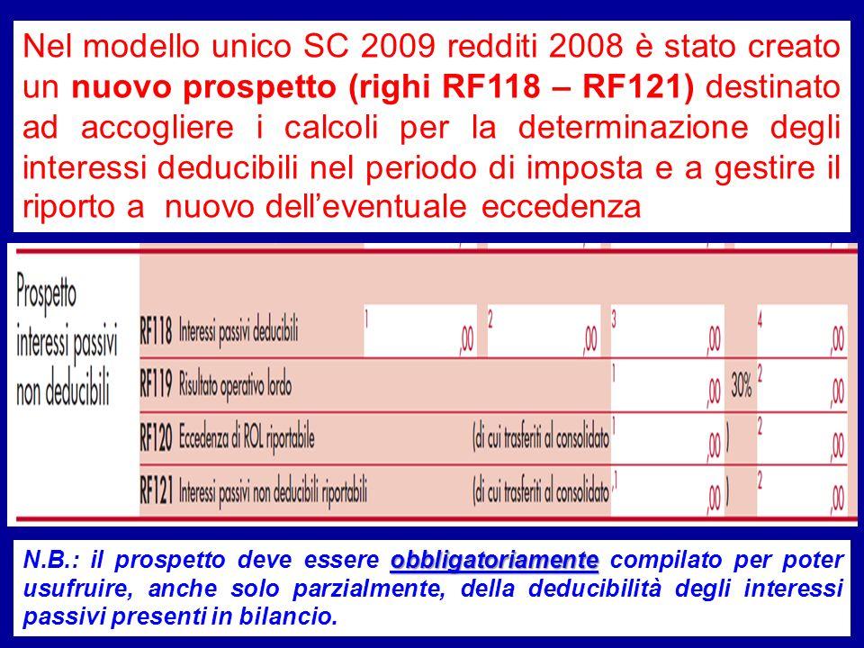 Nel modello unico SC 2009 redditi 2008 è stato creato un nuovo prospetto (righi RF118 – RF121) destinato ad accogliere i calcoli per la determinazione degli interessi deducibili nel periodo di imposta e a gestire il riporto a nuovo dell'eventuale eccedenza