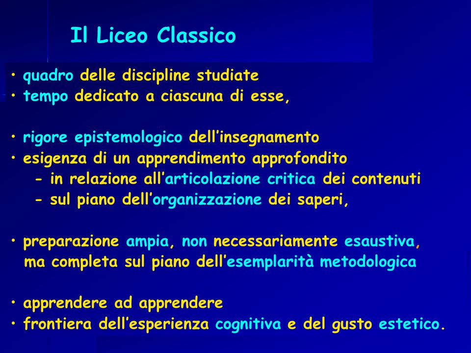 Il Liceo Classico quadro delle discipline studiate