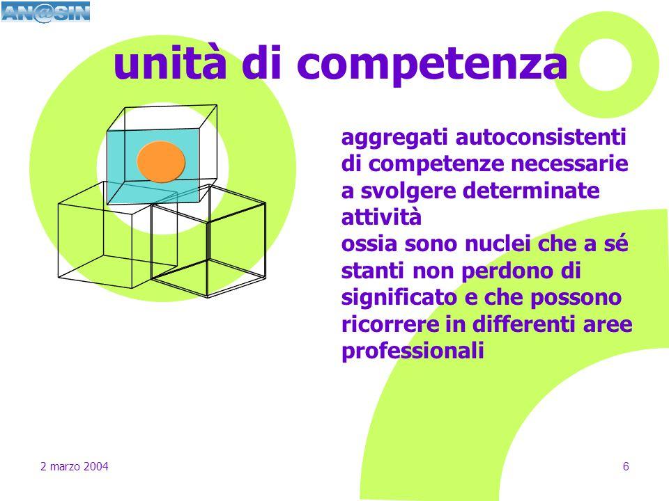 unità di competenza aggregati autoconsistenti di competenze necessarie a svolgere determinate attività.