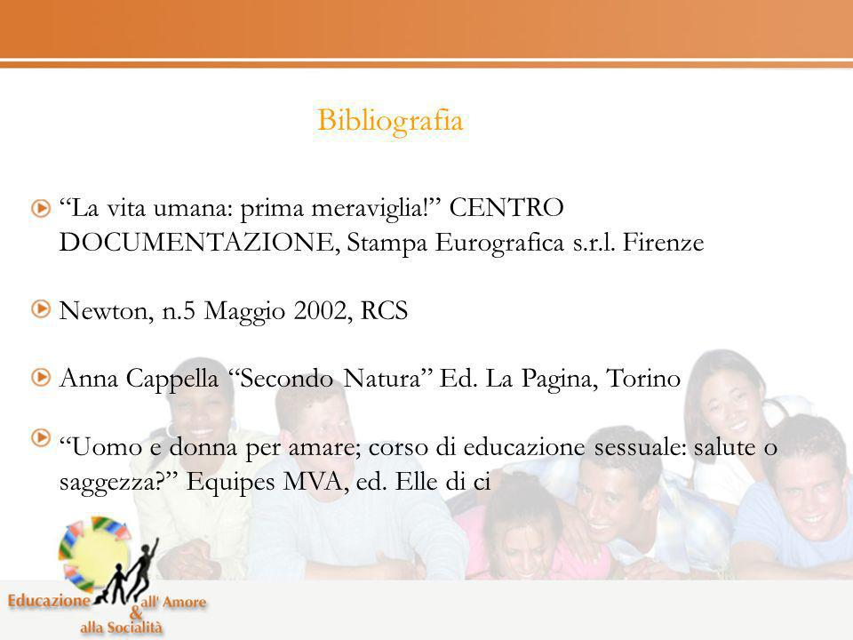 Bibliografia La vita umana: prima meraviglia! CENTRO DOCUMENTAZIONE, Stampa Eurografica s.r.l. Firenze.