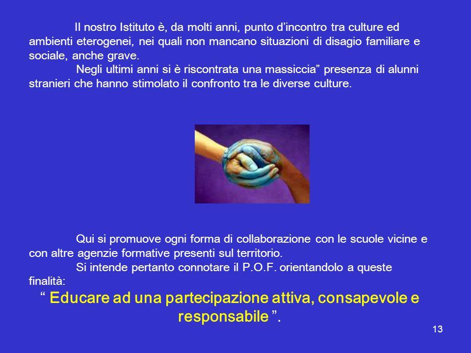 Educare ad una partecipazione attiva, consapevole e responsabile .