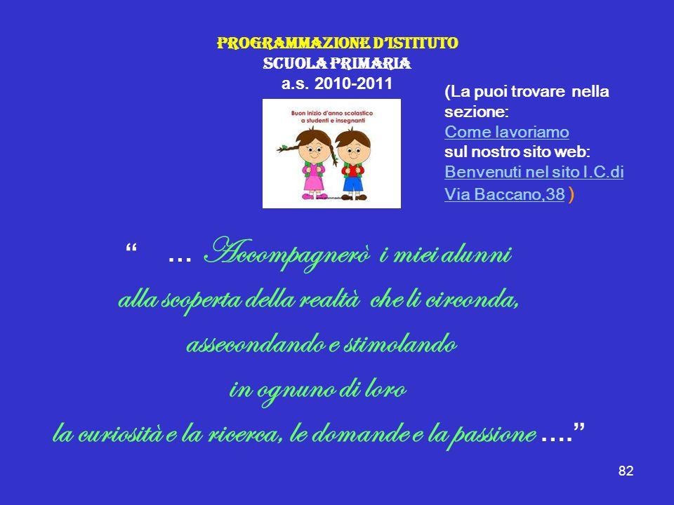 Programmazione D'Istituto Scuola Primaria a.s. 2010-2011