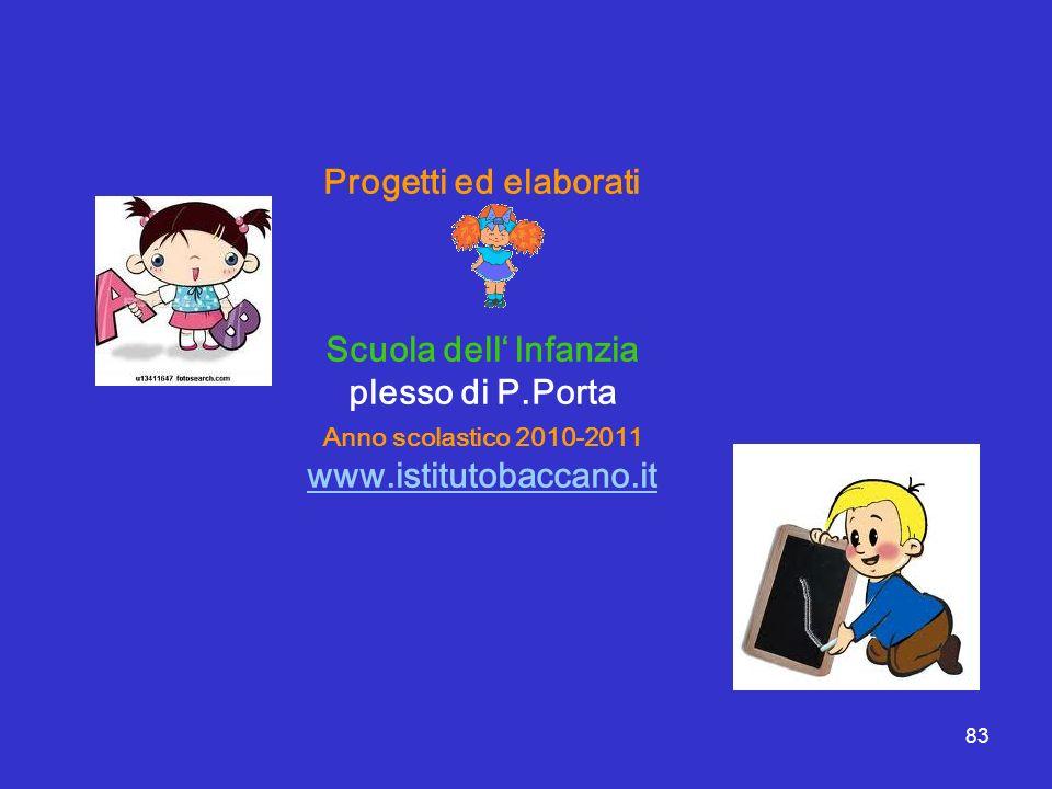 Progetti ed elaborati Scuola dell' lnfanzia plesso di P.Porta