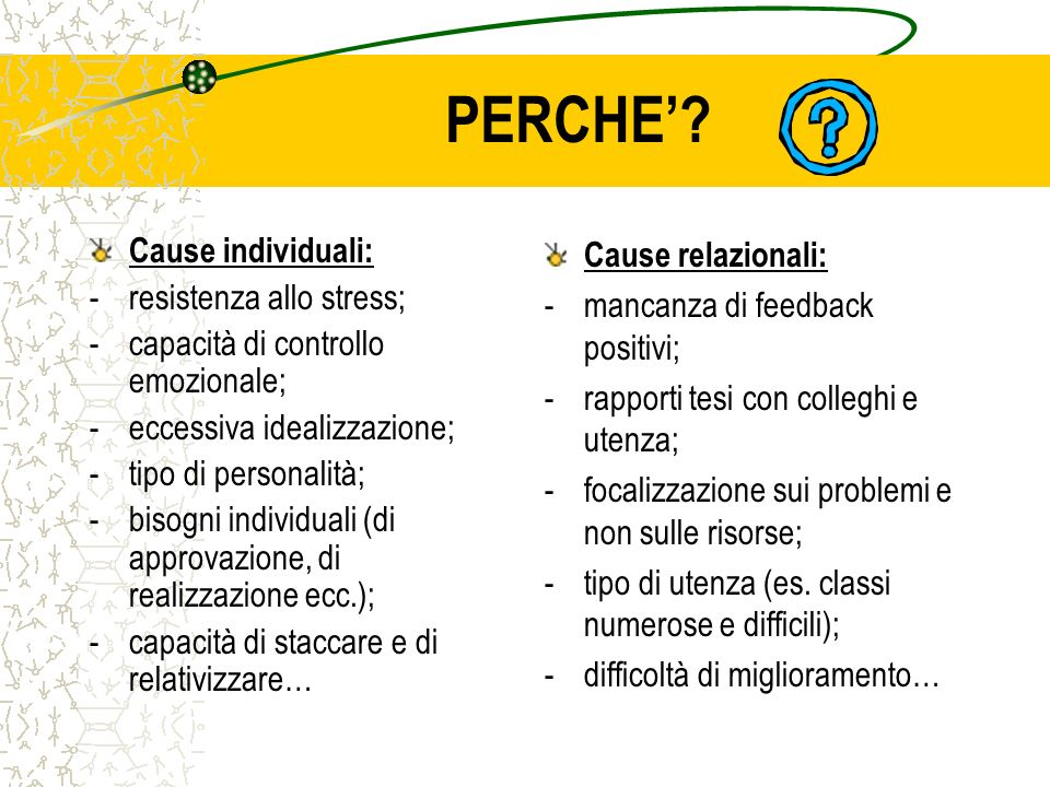 PERCHE' Cause individuali: resistenza allo stress;