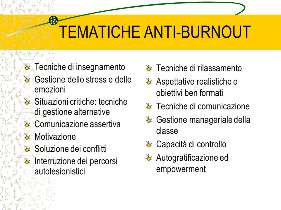 TEMATICHE ANTI-BURNOUT