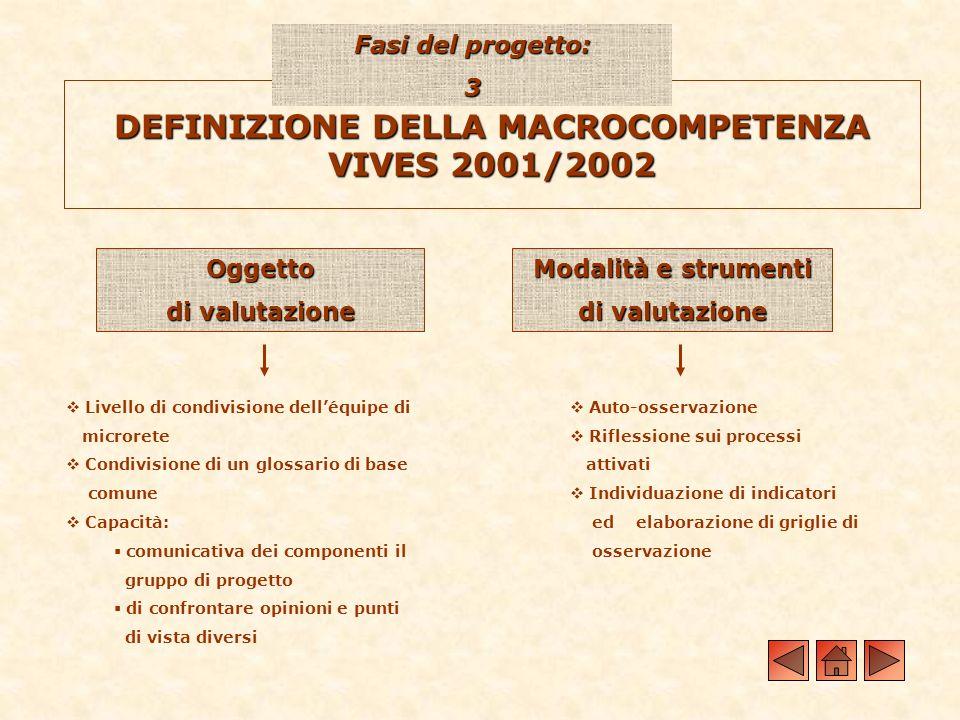 DEFINIZIONE DELLA MACROCOMPETENZA VIVES 2001/2002