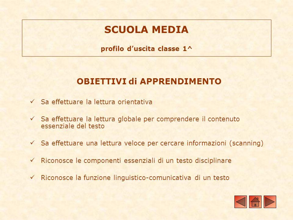 SCUOLA MEDIA profilo d'uscita classe 1^