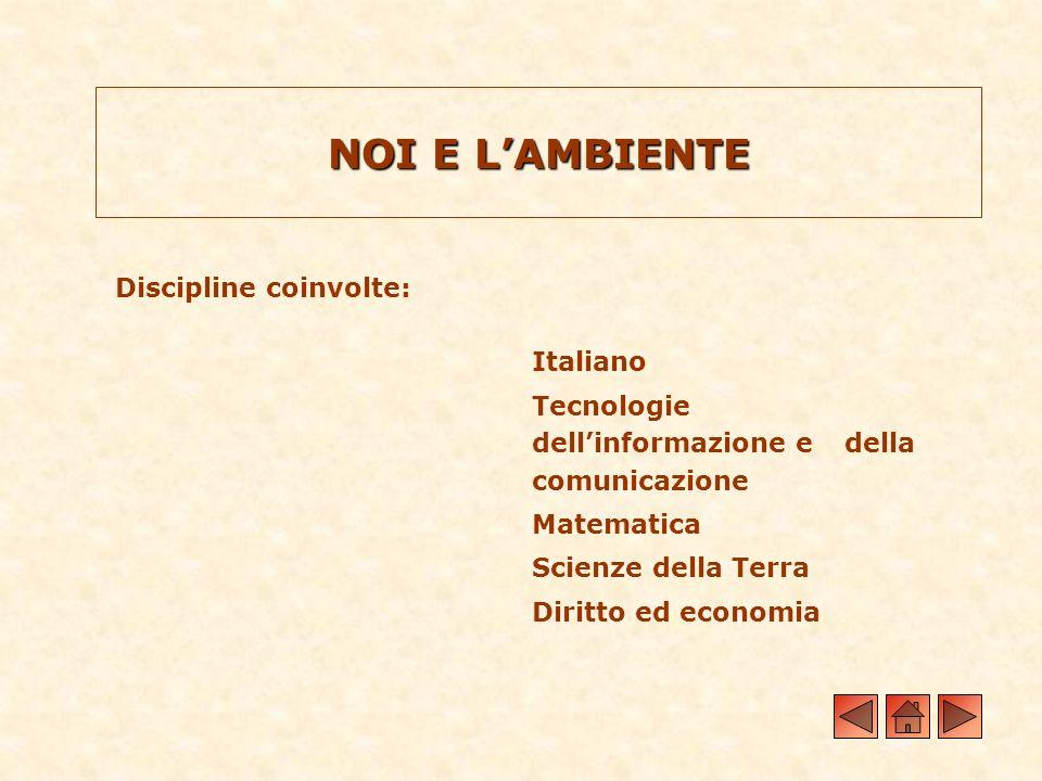NOI E L'AMBIENTE Discipline coinvolte: Italiano
