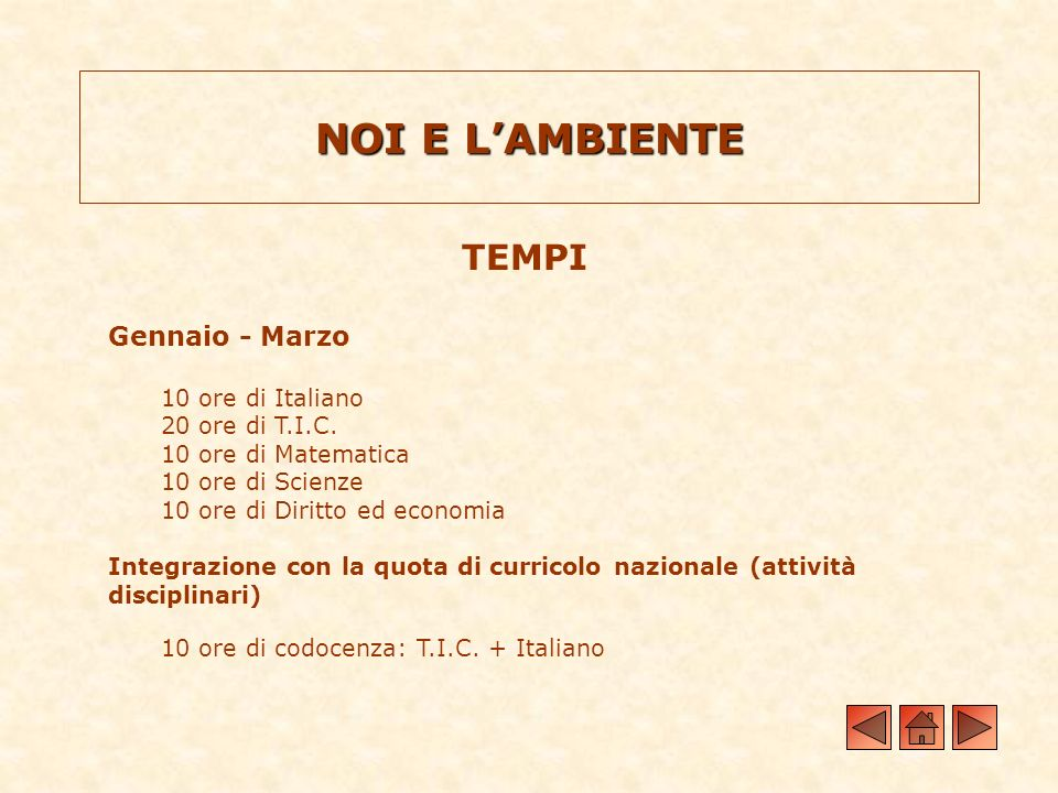 NOI E L'AMBIENTE TEMPI Gennaio - Marzo 10 ore di Italiano