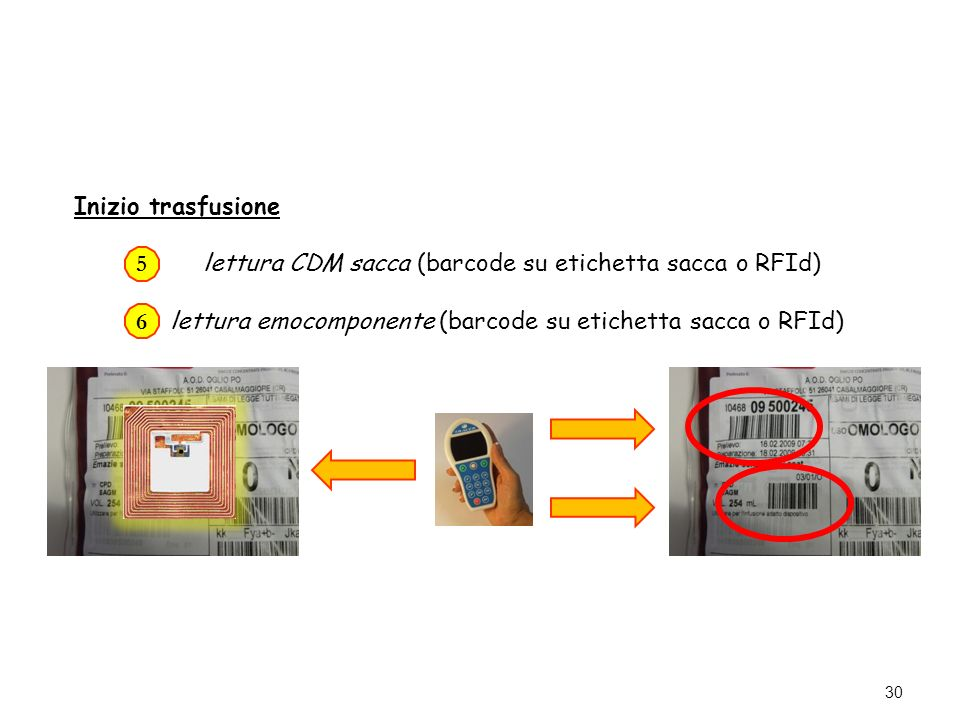 lettura CDM sacca (barcode su etichetta sacca o RFId)