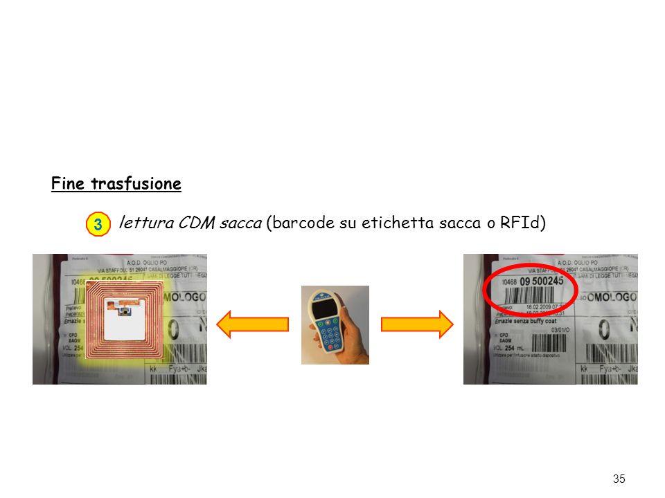 lettura CDM sacca (barcode su etichetta sacca o RFId) 3