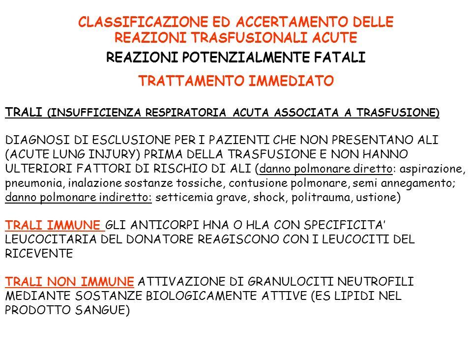 CLASSIFICAZIONE ED ACCERTAMENTO DELLE REAZIONI TRASFUSIONALI ACUTE